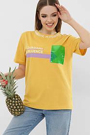 ЖЕНСКАЯ футболка 6047 ФУТБОЛКА Цвет: желтый VR-Y Размеры S M L XL