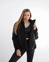 Черная бархатная куртка с напылением 42, 44, 46, 48