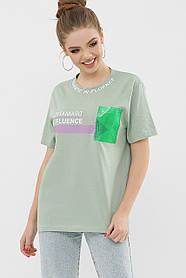 ЖЕНСКАЯ футболка 6047 ФУТБОЛКА Цвет: фисташка VR-Y Размеры S M L XL