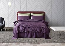 Постельное белье сатин Deluxe Bella Villa с вышивкой фиолетовый