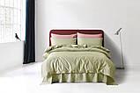 Постельное белье сатин Deluxe Bella Villa с вышивкой оливковый, фото 2