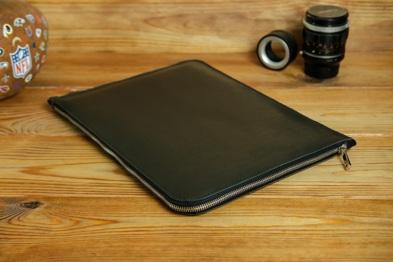 Шкіряний чохол для MacBook з повстяною підкладкою, на блискавці, Шкіра Італійський краст, колір Чорний