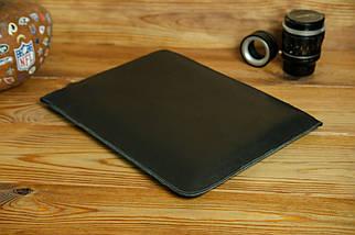 Шкіряний чохол для MacBook з повстяною підкладкою, на блискавці, Шкіра Італійський краст, колір Чорний, фото 2