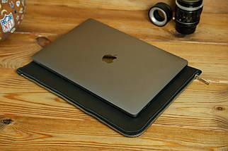 Шкіряний чохол для MacBook з повстяною підкладкою, на блискавці, Шкіра Італійський краст, колір Чорний, фото 3