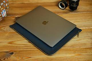 Кожаный чехол для MacBook на молнии, с войлочной подкладкой, Кожа Итальянский краст, цвет Синий, фото 3