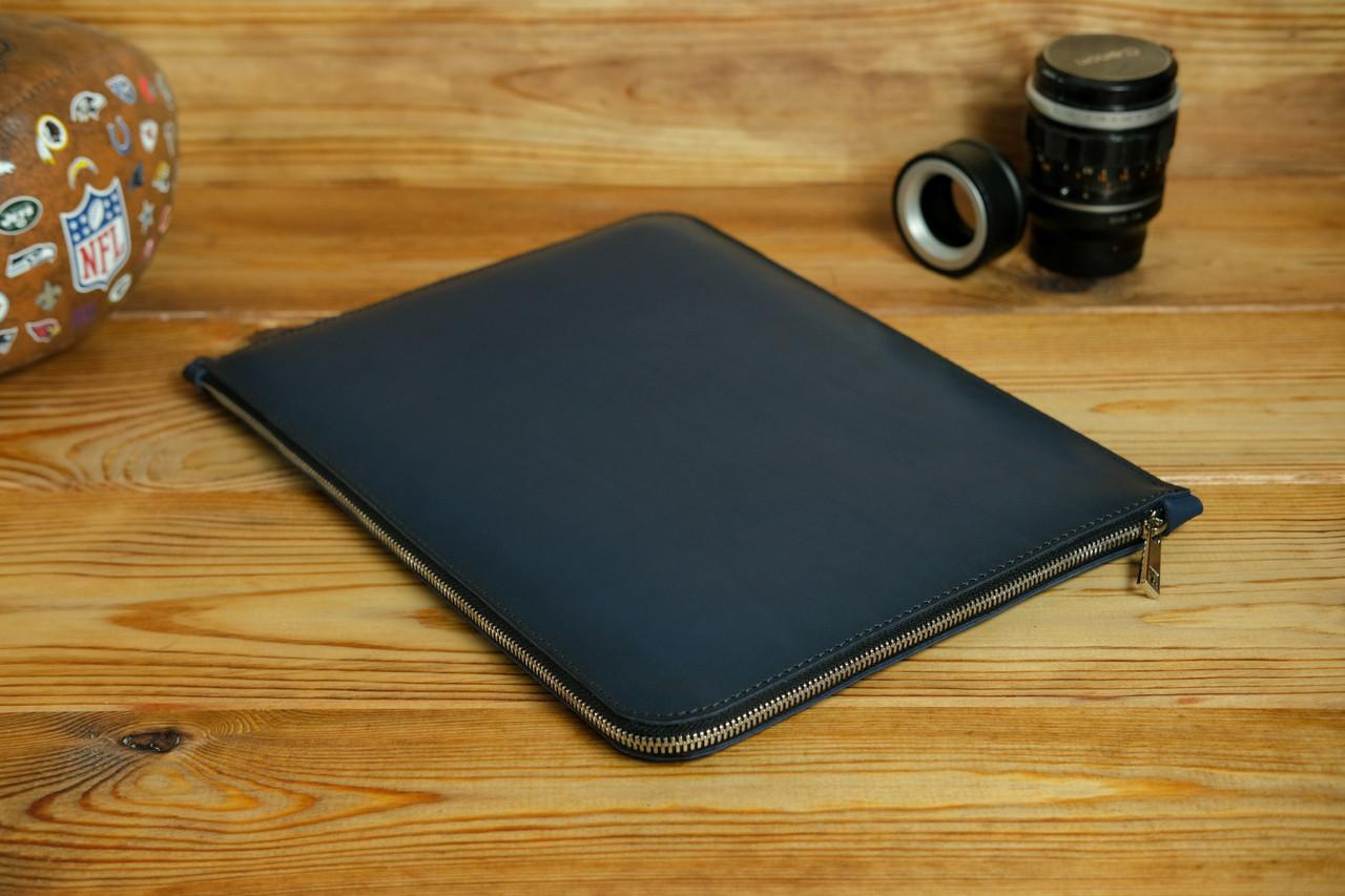 Кожаный чехол для MacBook на молнии, с войлочной подкладкой, Кожа Итальянский краст, цвет Синий