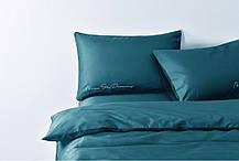 Постельное белье сатин Deluxe Bella Villa с вышивкой темно-бирюзовый