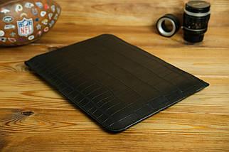 Шкіряний чохол для MacBook з повстяною підкладкою, на блискавці, Шкіра Італійський краст, колір Чорний, тиснення №2, фото 2