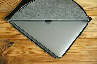 Шкіряний чохол для MacBook з повстяною підкладкою, на блискавці, Шкіра Італійський краст, колір Чорний, тиснення №2, фото 3