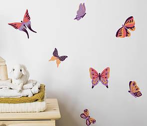 Виниловая декоративная наклейка Сиренево-оранжевые бабочки
