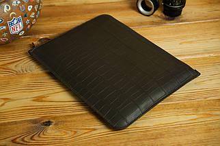 Шкіряний чохол для MacBook з повстяною підкладкою, на блискавці, Шкіра Італійський краст, колір Кава, тиснення №2, фото 2