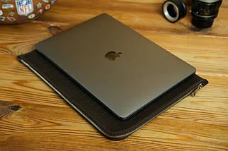 Шкіряний чохол для MacBook з повстяною підкладкою, на блискавці, Шкіра Італійський краст, колір Кава, тиснення №2, фото 3
