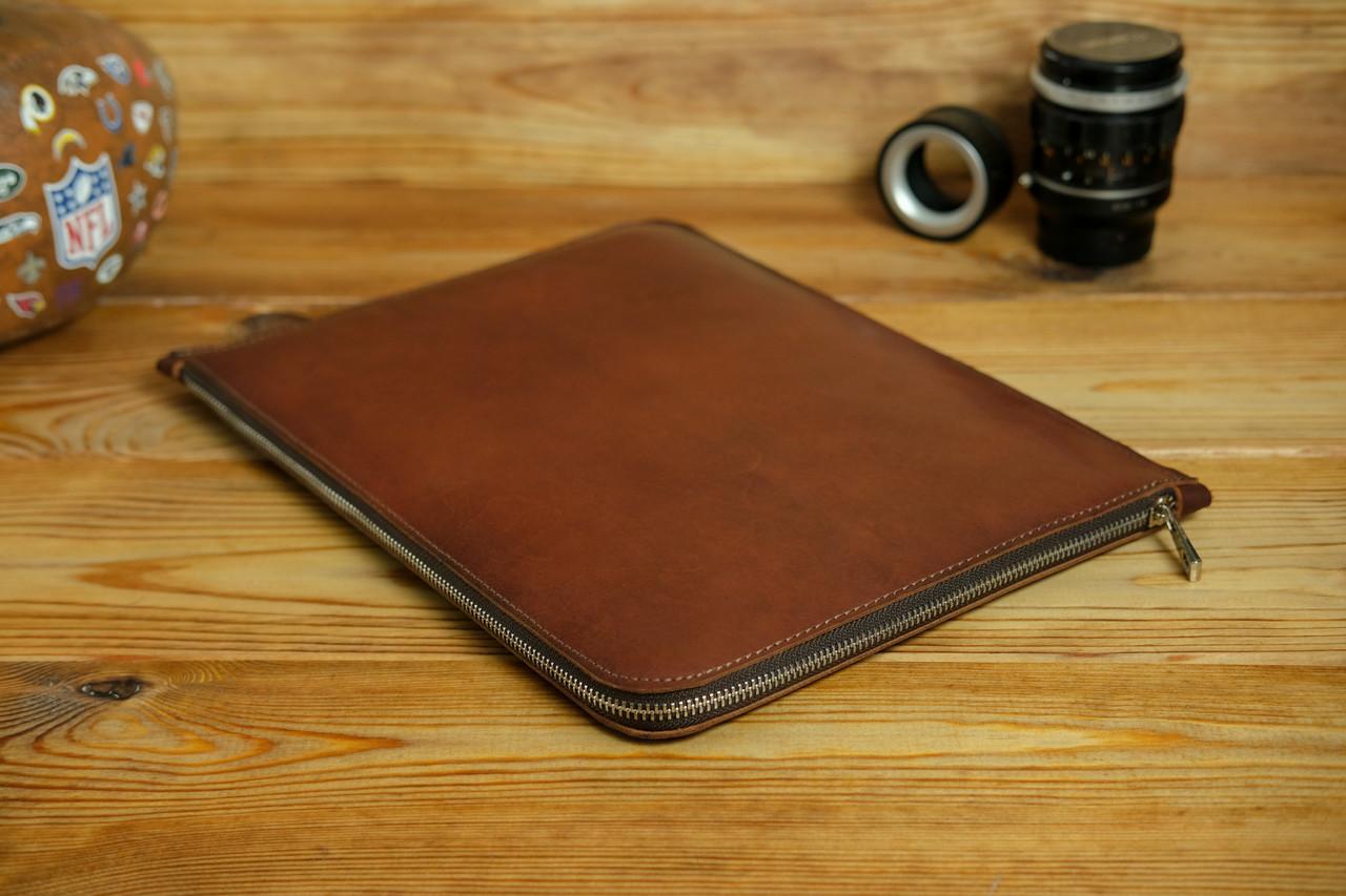 Шкіряний чохол для MacBook з повстяною підкладкою, на блискавці, Шкіра Італійський краст, колір Вишня