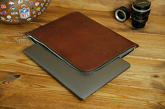 Шкіряний чохол для MacBook з повстяною підкладкою, на блискавці, Шкіра Італійський краст, колір Вишня, фото 2