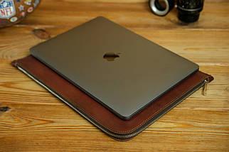 Шкіряний чохол для MacBook з повстяною підкладкою, на блискавці, Шкіра Італійський краст, колір Вишня, фото 3