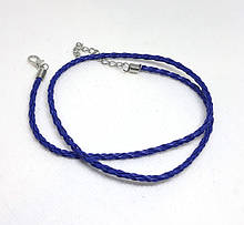 Основа на шею шнур плетеный Синий 3 мм 46 см Кожа искусственная