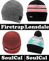 Шапка бини вязаная Firetrap Lonsdale SoulCal с помпоном унисекс мужская, женская, подростковая