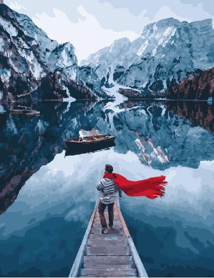 Картина по номерам 40х50 - Озеро Лаго ди Брайес