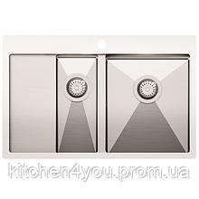 Кухонна мийка з нержавіючої сталі 780x500 мм. AquaSanita LUN151N-R права, 2 чаші