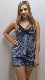 Велюровая пижама с кружевом с шортами, 42, 44, 46, 48, 50