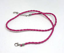 Основа на шею шнур плетеный Розовый 3 мм 46 см Кожа искусственная