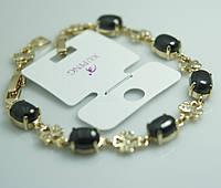 Стильный браслет с цветами и чёрными кристаллами. Женские украшения на руку с позолотой Xuping оптом. 39