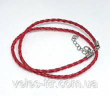 Основа на шею шнур плетеный Красный 3 мм 46 см Кожа искусственная