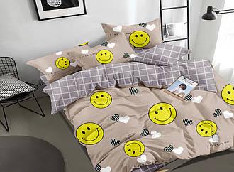 Полуторный комплект постельного белья «Смайл» из сатина, постельное смайлы двухспальный Евро семейный на заказ