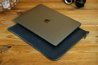 Шкіряний чохол для MacBook з повстяною підкладкою, на блискавці, Вінтажна шкіра, колір Синій, фото 3