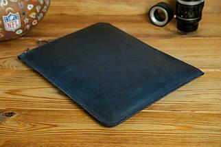 Шкіряний чохол для MacBook з повстяною підкладкою, на блискавці, Вінтажна шкіра, колір Синій, фото 2