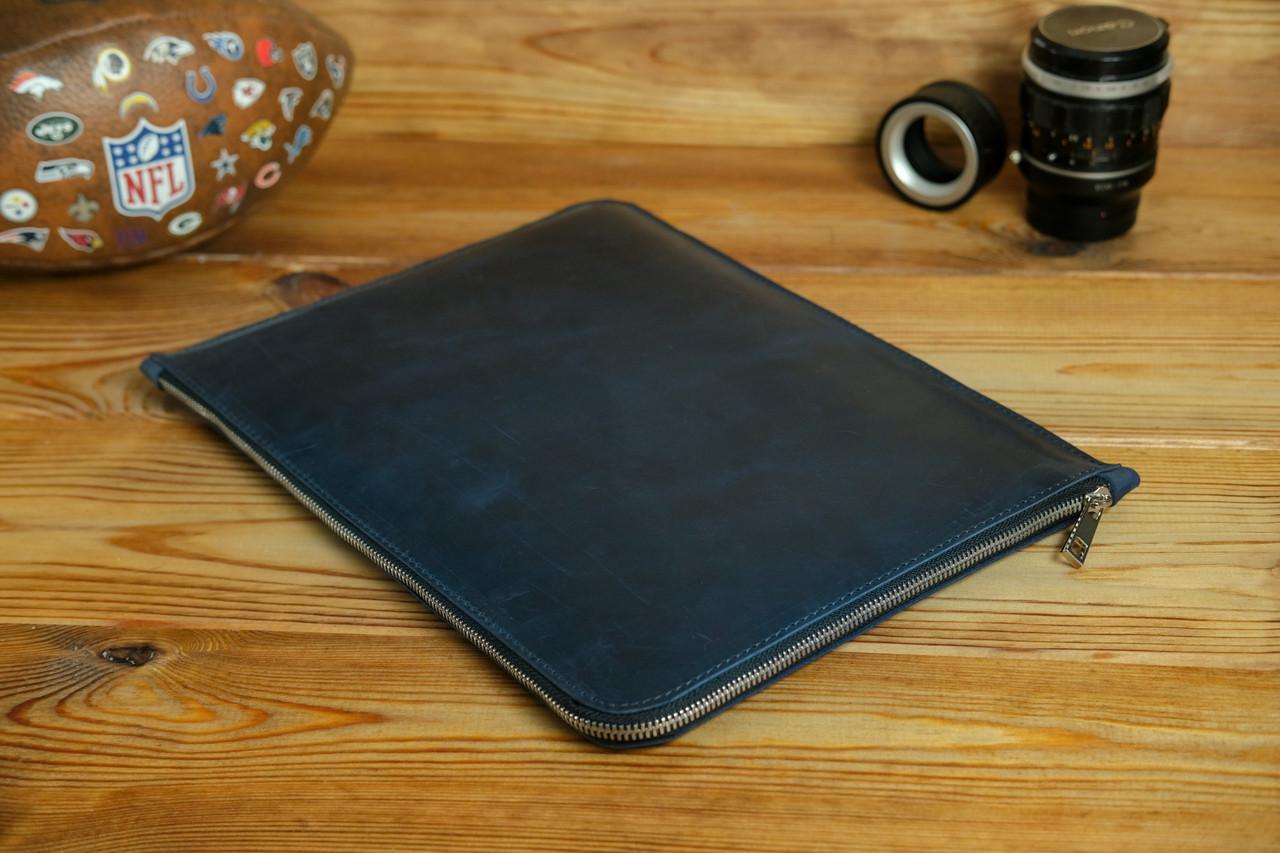 Шкіряний чохол для MacBook з повстяною підкладкою, на блискавці, Вінтажна шкіра, колір Синій