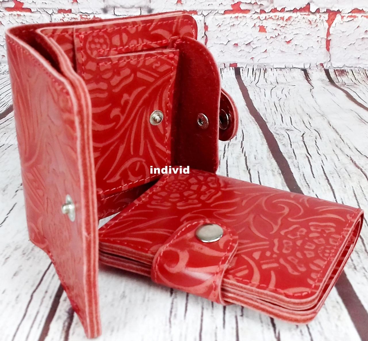 Красный кошелек женский. Кожаный женский бумажник. Женское портмоне. Винтажный кошелек цветы. КД3