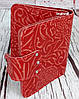Красный кошелек женский. Кожаный женский бумажник. Женское портмоне. Винтажный кошелек цветы. КД3, фото 2