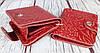 Красный кошелек женский. Кожаный женский бумажник. Женское портмоне. Винтажный кошелек цветы. КД3, фото 3