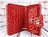 Красный кошелек женский. Кожаный женский бумажник. Женское портмоне. Винтажный кошелек цветы. КД3, фото 4