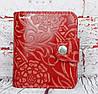 Красный кошелек женский. Кожаный женский бумажник. Женское портмоне. Винтажный кошелек цветы. КД3, фото 6