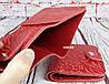 Красный кошелек женский. Кожаный женский бумажник. Женское портмоне. Винтажный кошелек цветы. КД3, фото 7