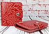 Красный кошелек женский. Кожаный женский бумажник. Женское портмоне. Винтажный кошелек цветы. КД3, фото 8