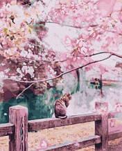 Картина за номерами. Brushme Котик в квітучої сакури