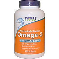 Омега-3 Рыбий жир для сердца, Omega-3 fish oil, Now Foods,  180 EPA/120 DHA, 200 капсул
