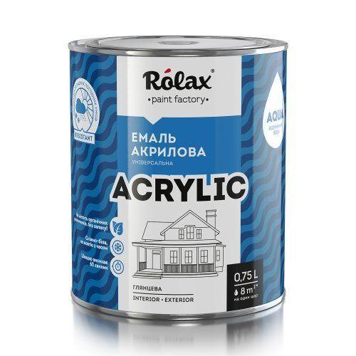 Емаль акрилова водорозчинна Premium, 0.75 л, сніжно-біла, шовковисто-глянцевий Rolax