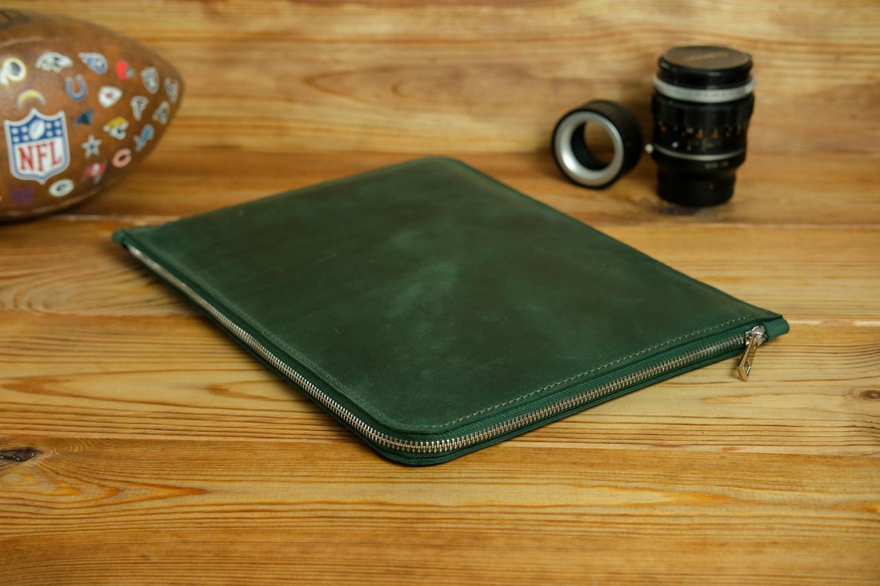 Чохол для MacBook на блискавці з повсть Дизайн №41 Вінтажна шкіра, колір Зелений