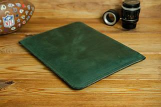 Чохол для MacBook на блискавці з повсть Дизайн №41 Вінтажна шкіра, колір Зелений, фото 2