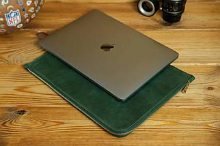 Чохол для MacBook на блискавці з повсть Дизайн №41 Вінтажна шкіра, колір Зелений, фото 3
