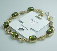 Изумительный браслет с позолоченными цветами и салатовыми кристаллами. Бижутерия с позолотой для женщин. 40