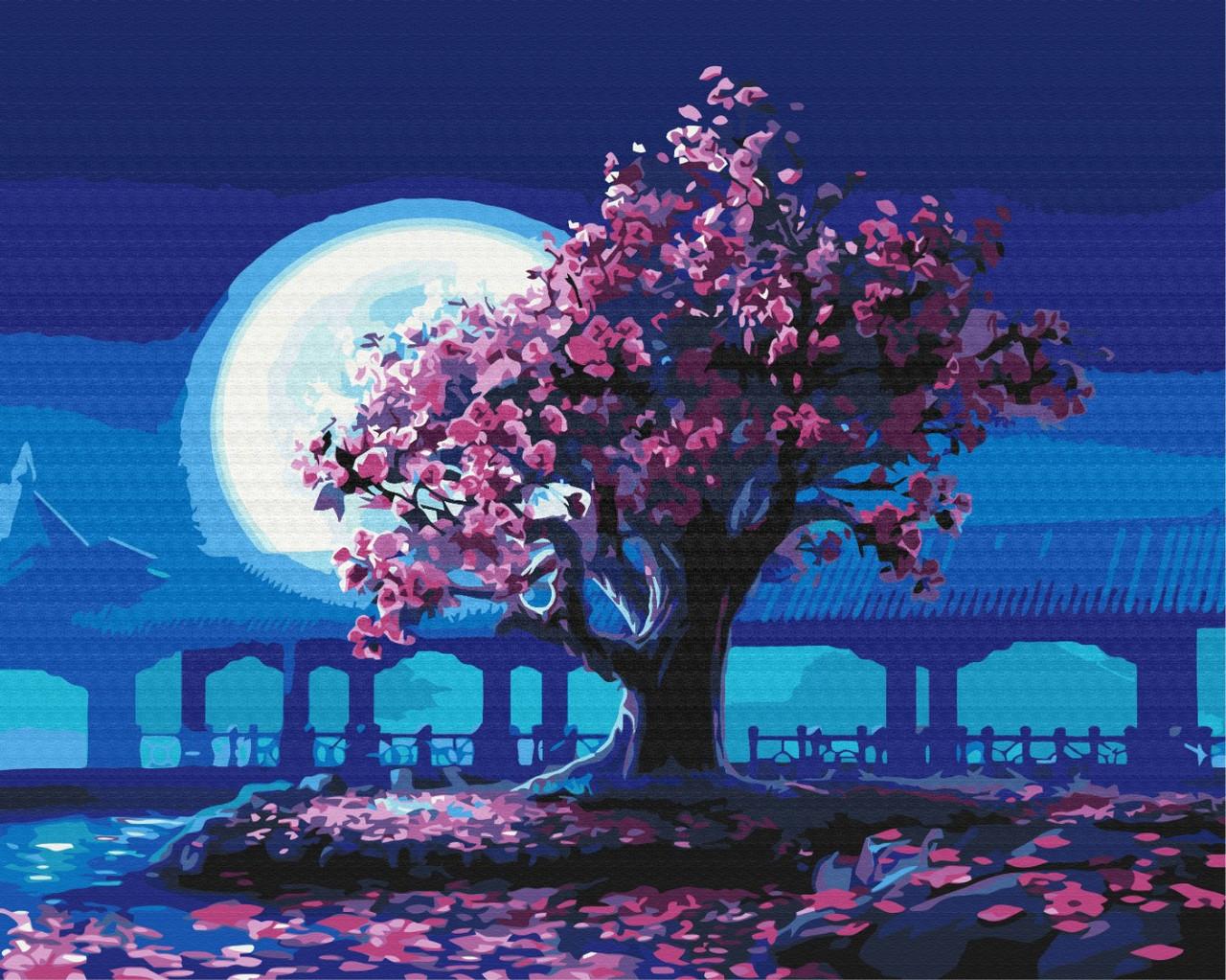 Картина по номерам 40х50 - Сакура в лунном свете