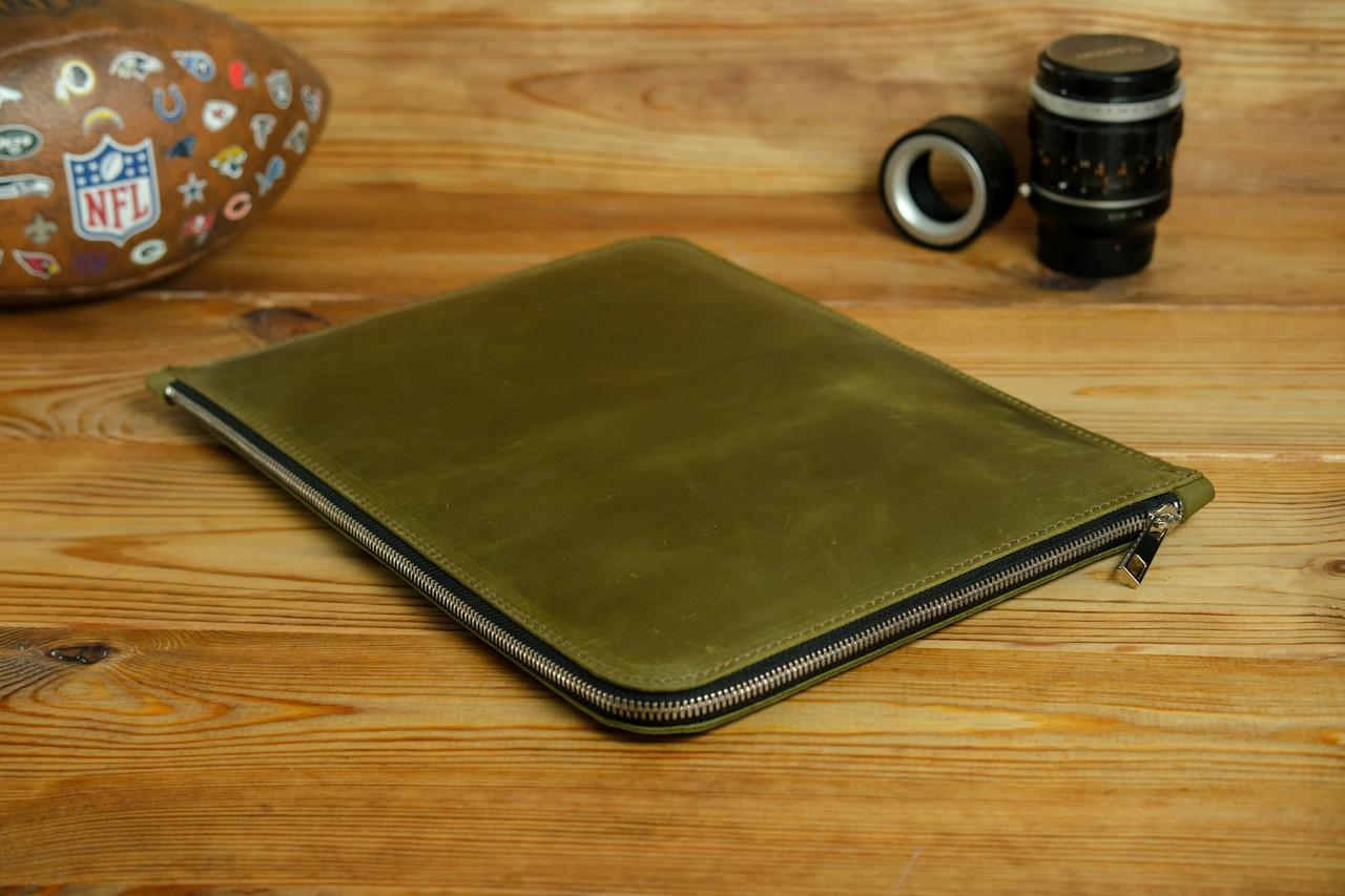 Кожаный чехол для MacBook на молнии, с войлочной подкладкой, Винтажная кожа, цвет Оливковый