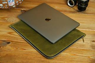 Кожаный чехол для MacBook на молнии, с войлочной подкладкой, Винтажная кожа, цвет Оливковый, фото 2