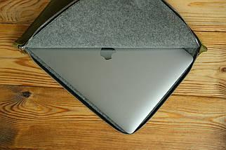 Кожаный чехол для MacBook на молнии, с войлочной подкладкой, Винтажная кожа, цвет Оливковый, фото 3