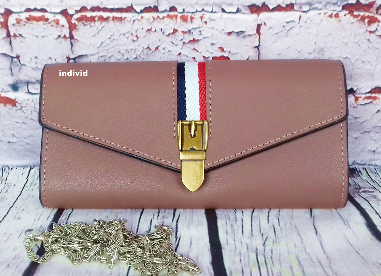 Жіноче портмоне клатч на ланцюжку. довгий рожевий гаманець. жіночий гаманець. К2